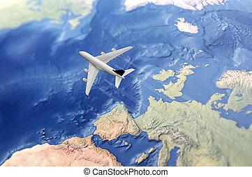 fehér, civil, repülőgép, felett, the atlantic óceán, repülés, alapján, európa, fordíts, a, usa