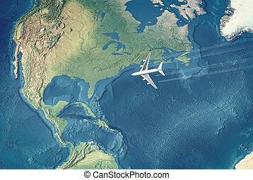 fehér, civil, repülőgép, felett, the atlantic óceán, repülés, fordíts, a, usa