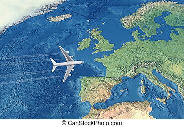 fehér, civil, repülőgép, felett, the atlantic óceán, repülés, fordíts, európa