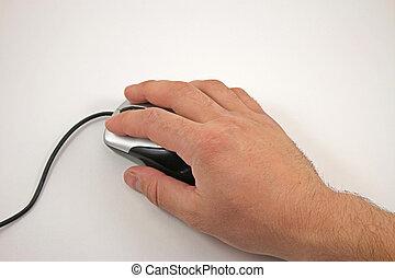 fehér, computer egér, háttér, kéz