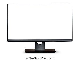 fehér, computer monitor, elszigetelt