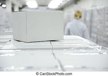fehér, doboz, csomag, -ban, raktárépület, hajlandó, helyett,...