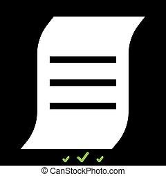 fehér, dokumentum, azt, ikon
