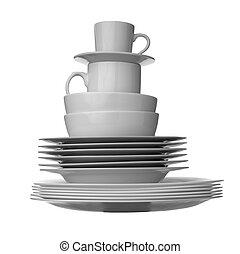 fehér, edények, konyha