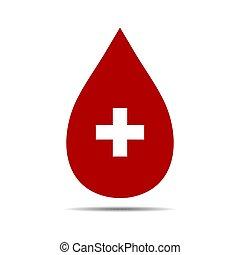 fehér, elszigetelt, háttér., kereszt, aláír, ábra, csepp, adományoz, vektor, vér