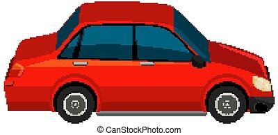fehér, elszigetelt, háttér, piros autó