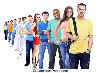 fehér, emberek, csoport