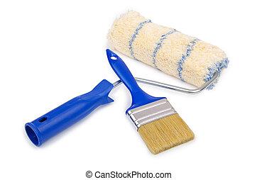 fehér, eszközök, elszigetelt, painter's