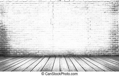 fehér, fa padló, noha, téglafal, háttér