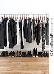 fehér, fekete, cipők, öltözék