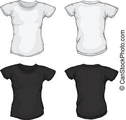 fehér, fekete, ing, női