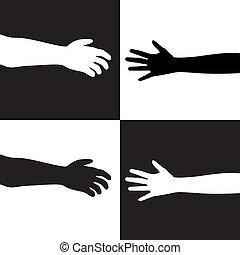 fehér, fekete, kézbesít