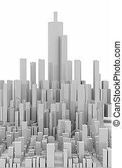 fehér, felhőkarcoló, panoráma