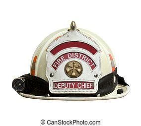 fehér, firemans kalap