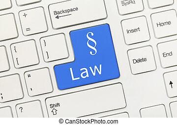 fehér, fogalmi, billentyűzet, -, törvény, (blue, key)