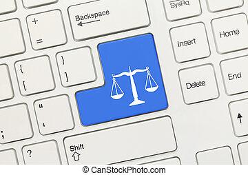 fehér, fogalmi, billentyűzet, -, törvény, jelkép, (blue, key)