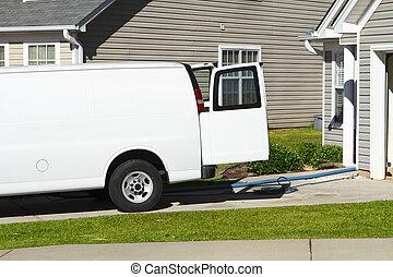 fehér, furgon, takarítás, szolgáltatás, szőnyeg