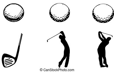fehér, golf, háttér, ikon
