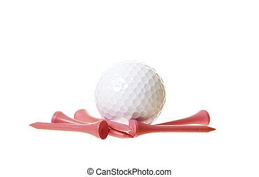 fehér, golf labda, rózsaszínű, elkezdődik, elszigetelt
