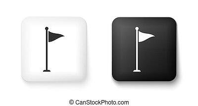 fehér, háttér., felszerelés, lobogó, button., vektor, accessory., ikon, vagy, derékszögben, elszigetelt, golf, fekete