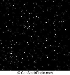 fehér, háttér., hó, elszigetelt, dotes, fekete, seamless, csillaggal díszít, motívum