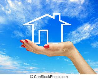 fehér ház, alatt, nő, kezezés kezezés, kék, sky., ingatlan tulajdon