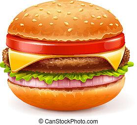 fehér, hamburger, elszigetelt, háttér