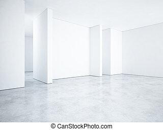 fehér, hivatal, interior., 3, vakolás