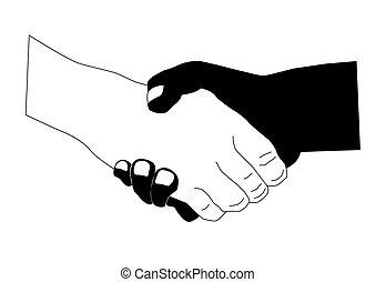 fehér, kéz, fekete, ráz