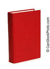 fehér, könyv, elszigetelt, háttér, piros