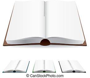 fehér, könyv, nyílik, apródok