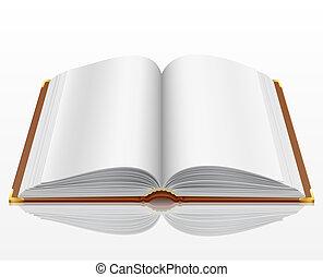 fehér, könyv, nyílik, elszigetelt