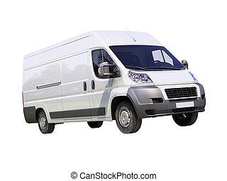 fehér, kereskedelmi, felszabadítás furgon