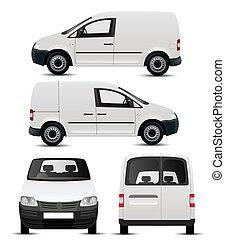 fehér, kereskedelmi, jármű, mockup