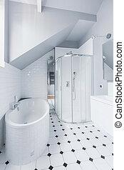 fehér, kortárs, fürdőszoba