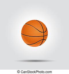 fehér, kosárlabda, árnyék, elszigetelt, labda