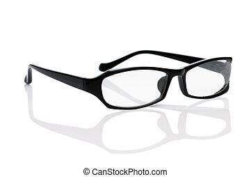 fehér, látási, elszigetelt, szemüveg, felolvasás