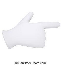 fehér, látszik, gloves., mutatóujj