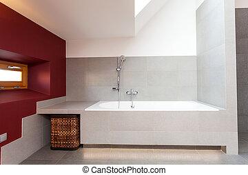 fehér, modern, fürdőszoba, fürdőkád