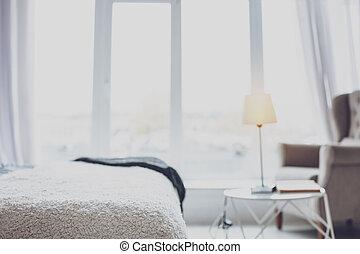 fehér, modern, kényelmes, hangsúly, hálószoba