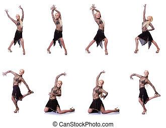 fehér, nő, elszigetelt, tánc