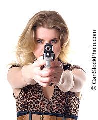 fehér, nő, kézifegyver, elszigetelt, háttér