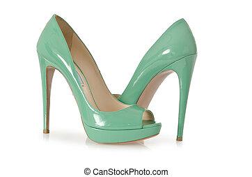 fehér, nő, zöld, cipők, elszigetelt