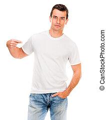 fehér, póló, képben látható, egy, fiatalember