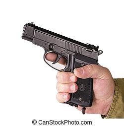 fehér, pisztoly, elszigetelt, kéz