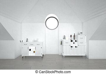 fehér, rész, konyha