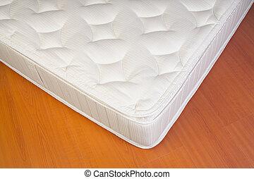 fehér, részletez, matrac