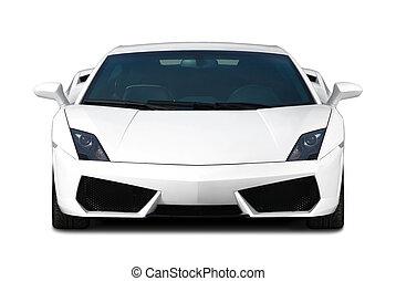 fehér, supercar., elülső, nézet.