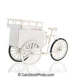 fehér, szállít, bicikli