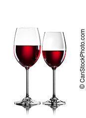 fehér, szemüveg, elszigetelt, vörös bor